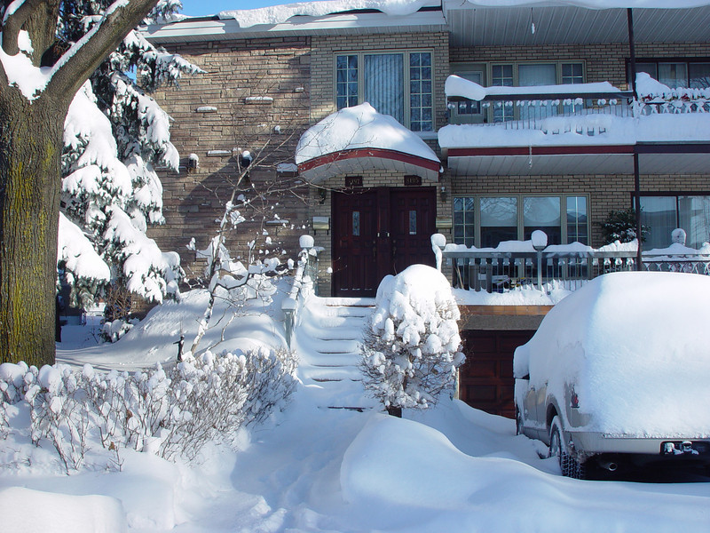 "My house in winter time after a ""big"" snowfall"
