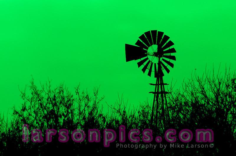 Windmill in a Farm Field in rural Wisconsin - Green