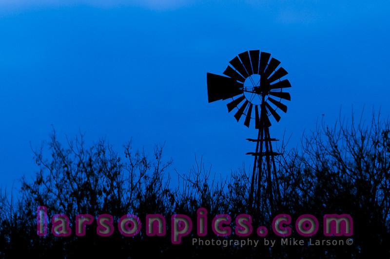 Windmill in a Farm Field in rural Wisconsin - Blue