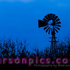 Windmill in a Farm Field in rural Wisconsin - Blue