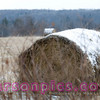 Snow covered Hay Bale in Farm Country - Florence, Wisconsin