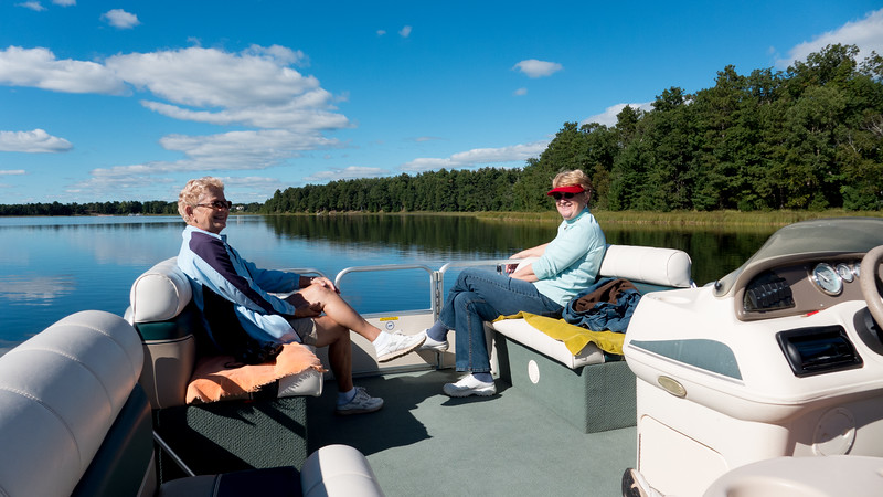 Pontoon ride on Birch Island Lake with Arlene and wife Bette.