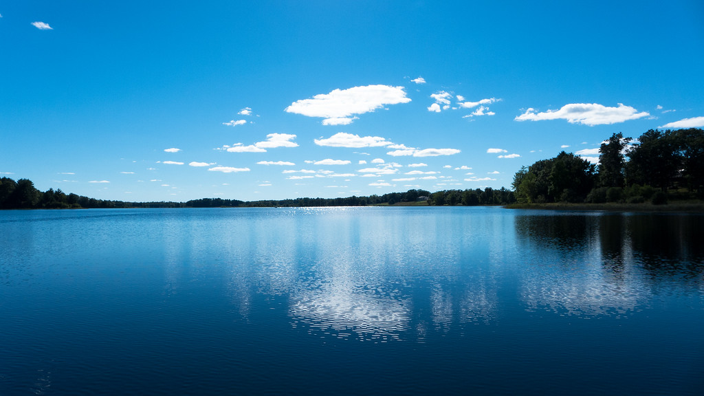 A perfect blue sky day on Birch Island Lake