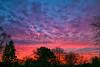 Sunset over Brookfield, WI neighborhood in mid February