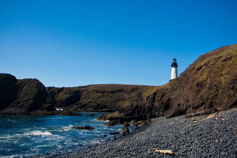 Yaquina Head Lighthouse, Oregon Coast from Cobble Beach