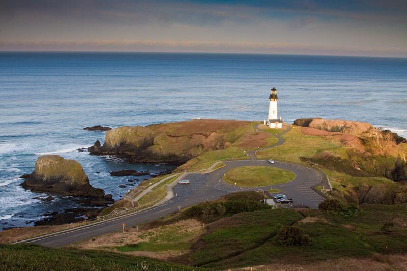 Yaquina Head Lighthouse, Oregon Coast from Salil Hill Yaquina