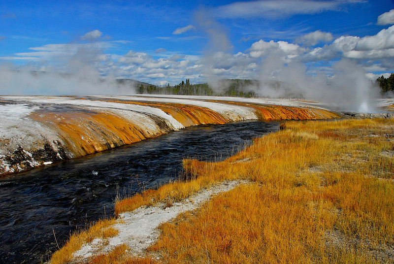 Geyser fed river in Yellowstone