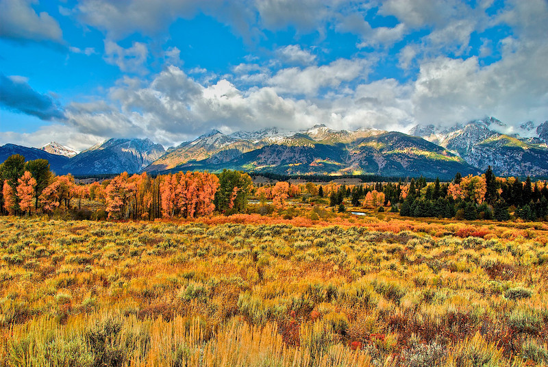 Grand Tetons with fall colors.
