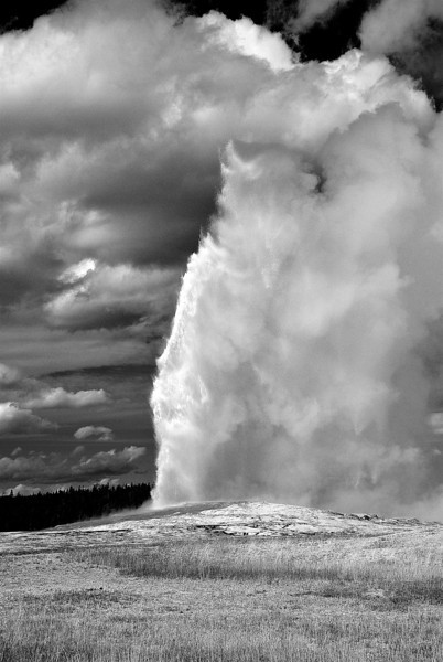 Black and white conversion of Old Faithful