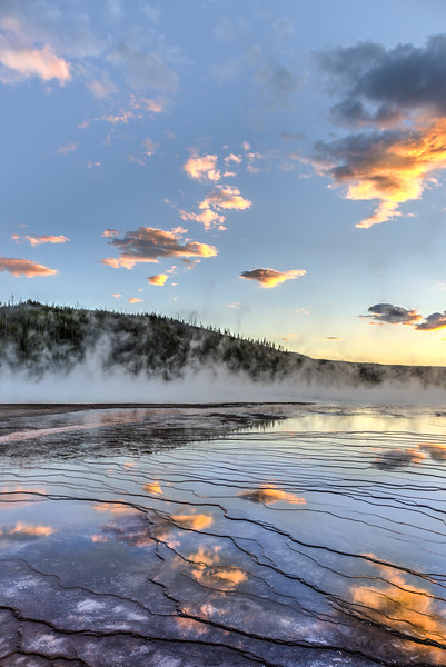 Sunset over the Grand Prismatic Spring in Yellowstone National Park - 1