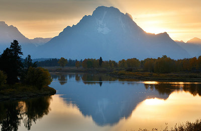 Oxbow Bend with Mount Moran in the background.