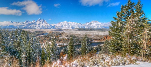 The Grand Tetons from snake river bend. NOTE:  You can add a beautiful custom frame to this image at www.americanframe.com.  Just type jay seeley into the search box and go from there.