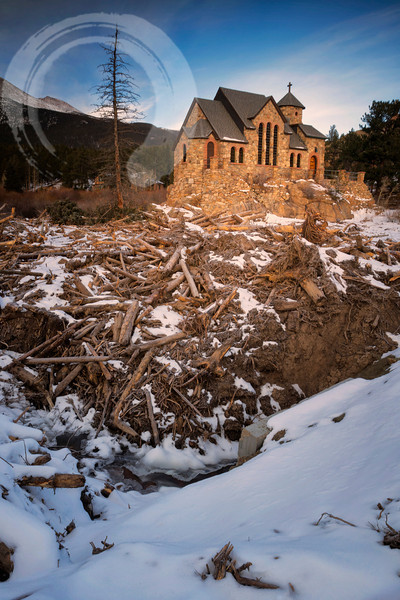 The little Chapel on the Rock on the Peak to Peak Highway in Colorado used to be surrounded by a pool.  After the flood of September 2013, it became a logjam, looking more like a lumber mill.