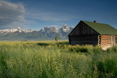 At the base of the Grand Tetons is what is left of a Morman Community.  It lasted about 50 years, being abandoned in 1936. The contrast of the craggy peaks of the Grand Tetons and the grassland make for a surene setting.