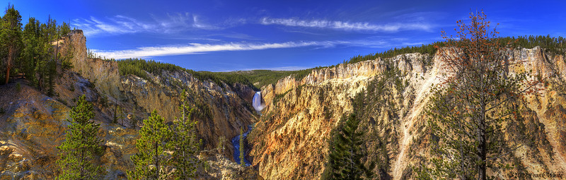 Panorama of the Grand Canyon of the Yellowstone, looking toward Lower Falls from Artist Point. This shot was created by stitching 9 HDR images together and is almost 180 degrees across.