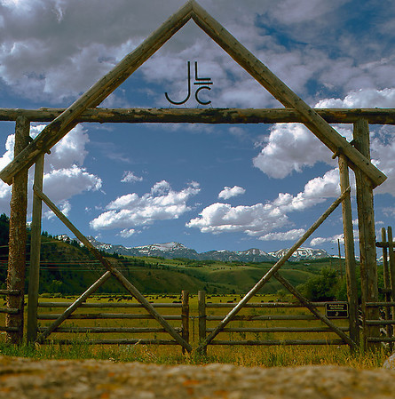 Main gate to the JLC ranch in Jackson, SY