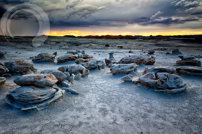 Evening storm over the Bisti Badlands.