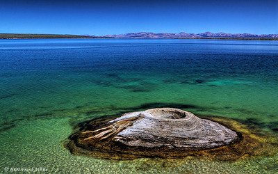 Fishing Cone spring looking east across Lake Yellowstone from the West Thumb Geyser basin.