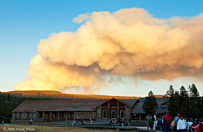 Smoke from the Arnica Creek forest fire over the Old Faithful Lodge late afternoon.