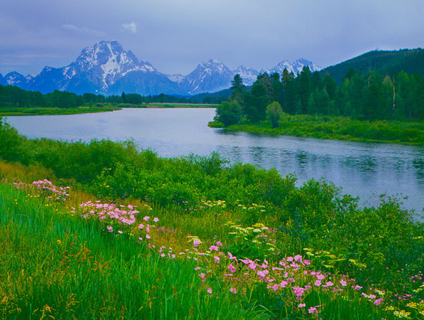 Grand Tetons on the famous Oxbow Bend in Jackson, WY