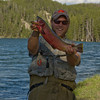 Cutthrought trout are the native species in Yellowstone River.  I asked this fisherman if I could take his picture.  As you can see, this is a big fish.  It is illeagal to keep cutthrought trout, so he returned it to the river.