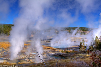 An early morning shot across the Porcelain basin, with Ledge Geyser on the left side. This is a 3-shot HDR image.