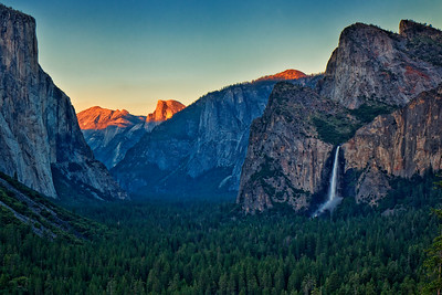 Bridalveil Falls, Half Dome and El Capitan at sunset.