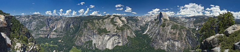 Yosemite Valley viewed from Glacier Point. Left to right: Upper and Lower Yosemite Falls, Yosemite Village, Mirror Lake, Half Dome, Vernal Falls, Nevada Falls.
