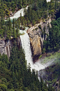 Vernal Falls. Photo taken July 7, 2011 about a week before three visitors climbed over the railing and were swept over the falls. Bodies not yet recovered.