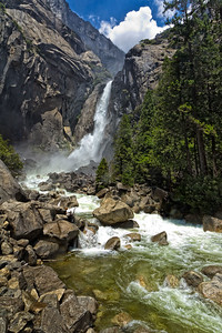 Lower Yosemite Falls flowing into the Merced River