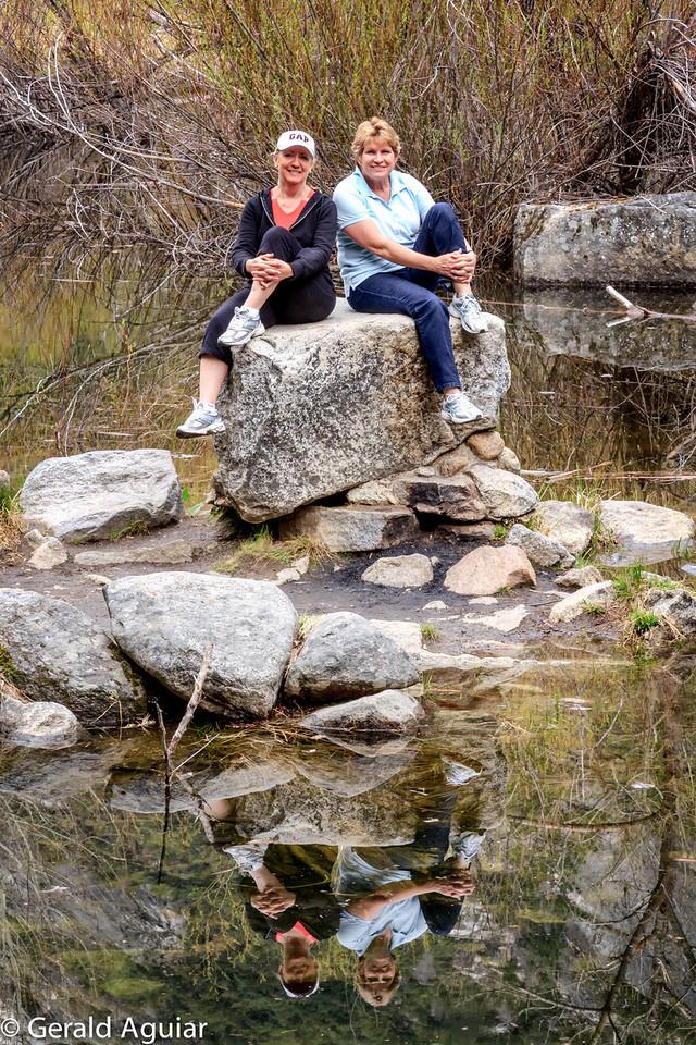 Sandy and Jenny posing at Mirror Lake