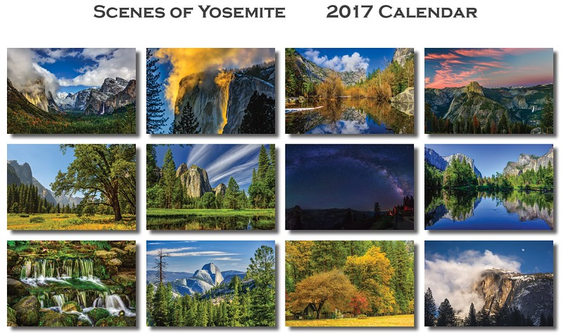 Images in the Yosemite 2017 Calendar - Back Cover view