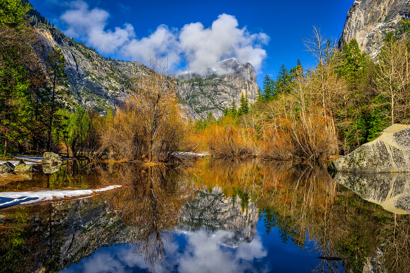 """Mirror Lake in Yosemite in Spring""  Yosemite National Park and Mt. Watkins"