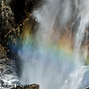 close up of the rainbow at lower falls