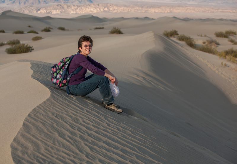 Tracy at Mesquite Flat Sand Dunes at sunset