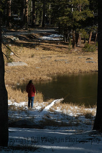 Tioga Pass, Yosemite.  My wife at edge of lake.