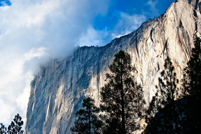 """Clouds over El Capitan"".  I captured this during the fall shooting.  The clouds were swirling around the nose of El Capitan with the vivid blue sky in the background.  I found a clearing just off the road near one of the turnouts and pointed my camera towards El Capitan and the sky.  While I was shooting, I must have had 30 different people pull over and get out and come over wondering WHAT I was looking at!  I simply said, ""Look how beautiful El Cap is with those clouds!!"" (Everyone agreed!)  Every minute the clouds changed as they swirled around.  Another beautiful place to be on a Friday afternoon.  Keep up with my latest on my Facebook Fan Page - <a href=""http://www.facebook.com/pages/Yosemite-and-Bay-Area-Nature-Photography-by-John-Harrison/190152125697?ref=nf"">http://www.facebook.com/pages/Yosemite-and-Bay-Area-Nature-Photography-by-John-Harrison/190152125697?ref=nf</a>"