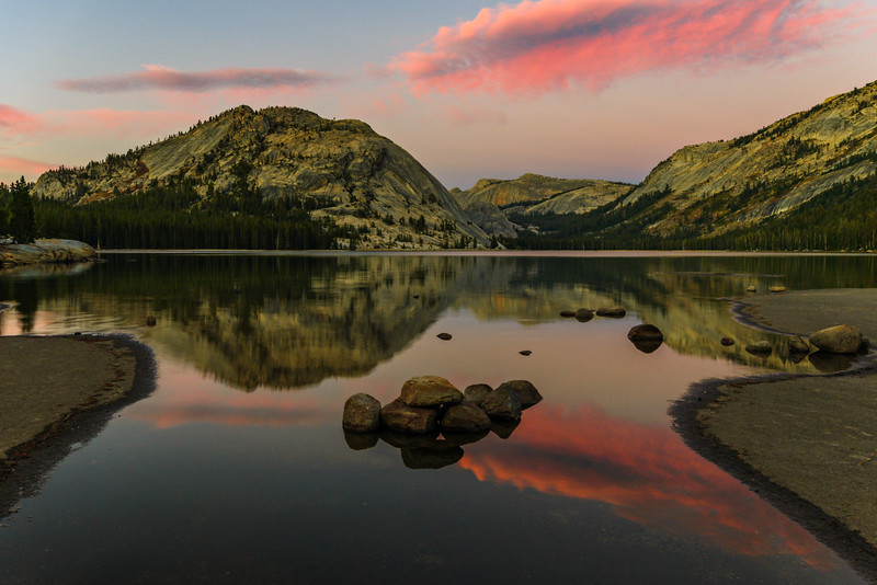 """""""Sunset at Tenaya Lake"""", Yosemite National Park - Tioga Pass.  Just a beautiful sunset at Tenaya Lake.  There were no clouds in the sky all day and right at sunset the winds died down to smooth out the lake and a few wisps of clouds came through delivering some brilliant colors."""
