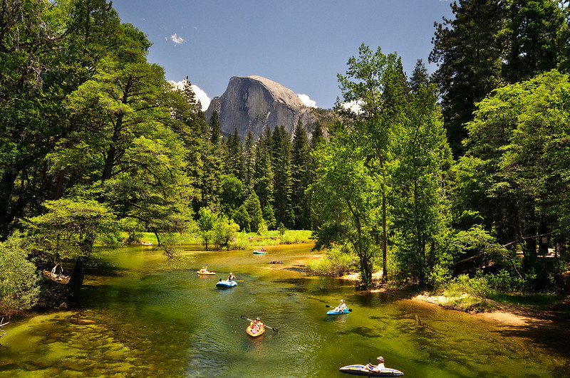 """Rafting and Kayaking on the Merced in Yosemite"" This is how it normally looks in the summer as kayaks and rafts leisurely float down the Merced. I am NOT sure it looks like that right now with ALL the water! If anyone has any reports or more recent pics - please share! I have my little boat ready to go!"