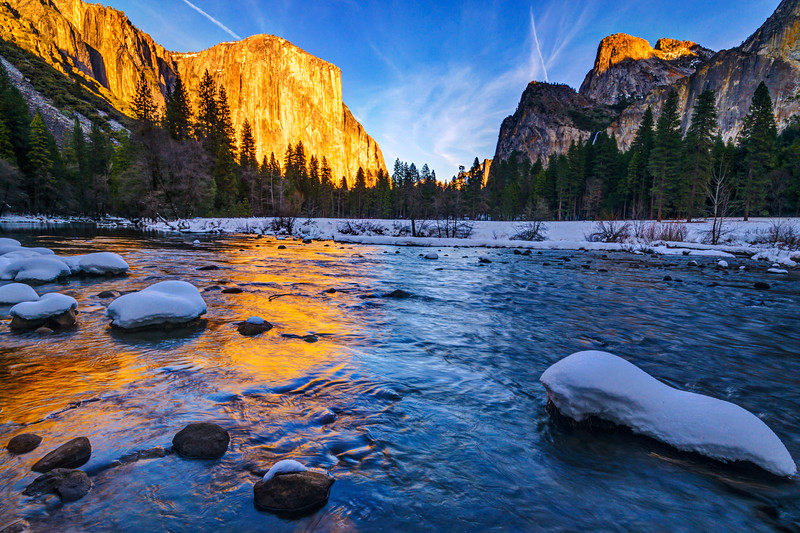 """Valley View Sunset in Winter"".  Yosemite National Park Fine Art Print"