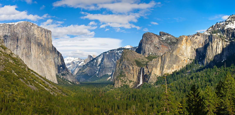 The New and Improved view from Tunnel View.   Spring.  This is what the view looks like now after a major renovation project at Tunnel View to help restore what the view looked like years ago.  They trimmed quite a few tries that had grown up and widened the parking lot so tourists don't get run over trying to take pictures (previously people would stand in the parking lot to get a good picture of people at the overlook.