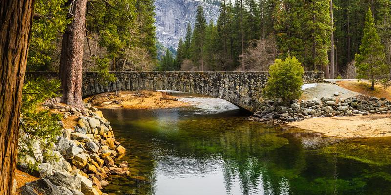 Ahwahnee Stone Bridge in Yosemite National Park Panorama