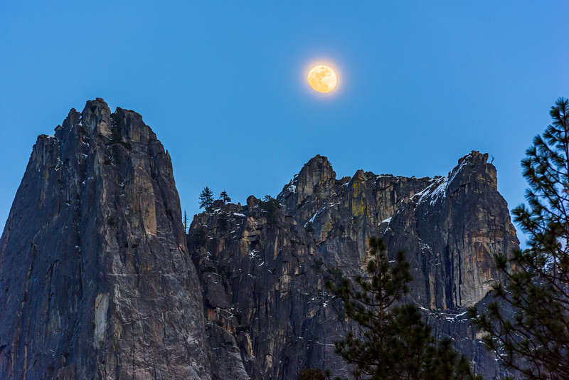 """Moonrise over Sentinel Rock"" Yosemite National Park."