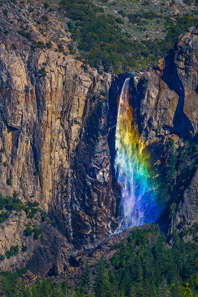 Rainbow over Bridalveil Falls - Shot from Tunnel View in Yosemite