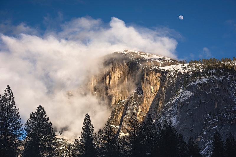 """""""Moon and Clouds over Half Dome in Yosemite National Park"""""""