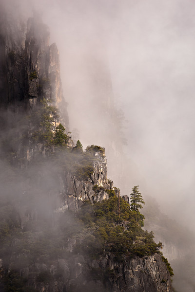 """""""Spires in the Mist"""" Yosemite National Park. Low clouds, fog, mist and a clearing storm in Yosemite Valley is the PERFECT time to go out and shoot!  Our last day in Yosemite gave conditions that changed every minute.  I liked the ways the trees on these cliffs were popping out of the clouds looking like they are on the edge of the world."""