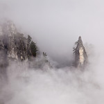 """Spires in the Mist""  Near Yosemite Falls, Yosemite National Park, California"