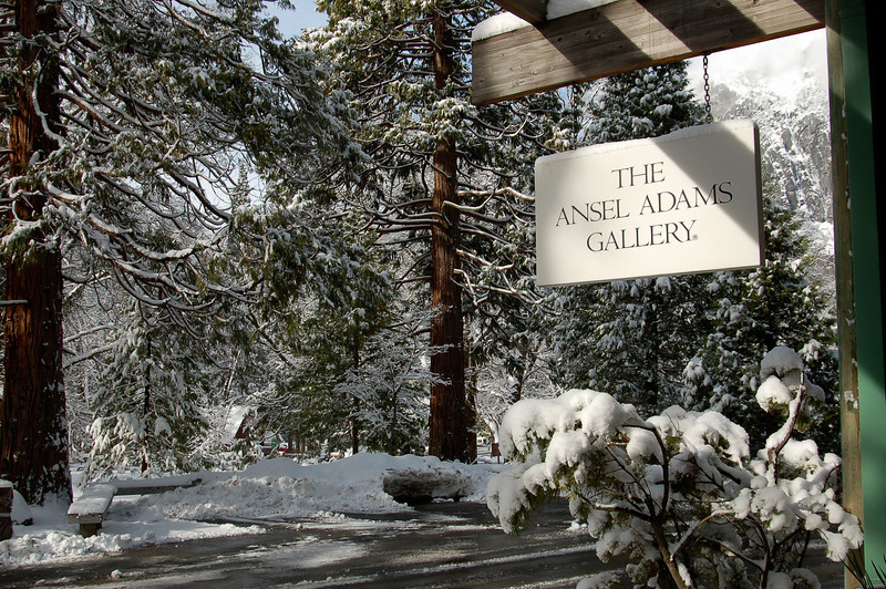 The Ansel Adams Gallery Sign in Winter in Yosemite National Park