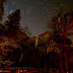 "Star Trails over Yosemite Falls in Winter.  I was one of the only persons in Yosemite Valley when I shot this.  This is a 40 minute exposure.  A ranger finally stopped by to ask what I was doing -- I replied, ""Taking pictures of course!"""