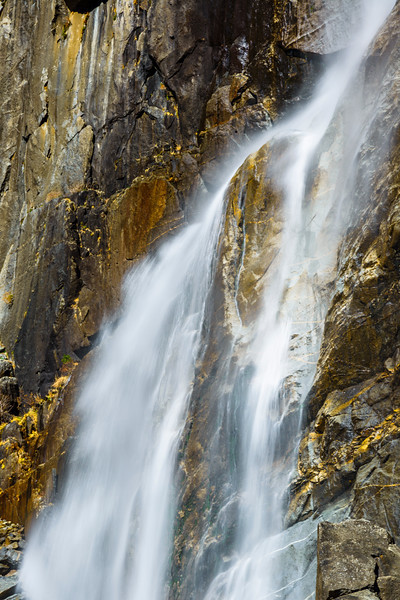 A Selection of Yosemite Falls and Granite Faces in Yosemite National Park in Spring.